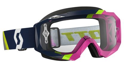 Picture of SCOTT Hustle MX Goggles Asym Dark Blue Pink with Clear Works Lens
