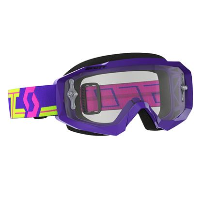 Picture of SCOTT Hustle MX Goggles Purple Yellow with Clear Works Lens
