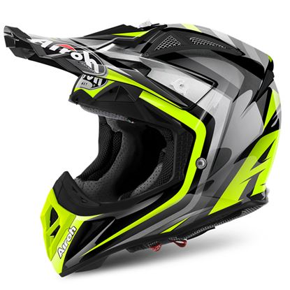 Picture of AIROH  AVIATOR 2.2 Carbon Kevlar Helmet Warning Yellow Gloss
