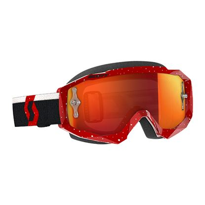 Picture of SCOTT Hustle MX Goggles Red White with Orange Chrome Works Lens