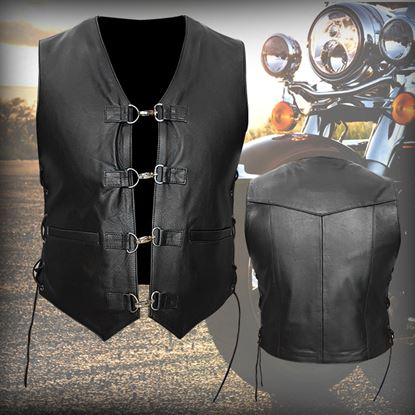 Picture of SPEED X Leather Vest Jacket Black