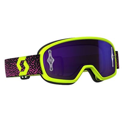 Picture of SCOTT BUZZ MX Pro Goggle Yellow Pink with Purple Chrome Works lens